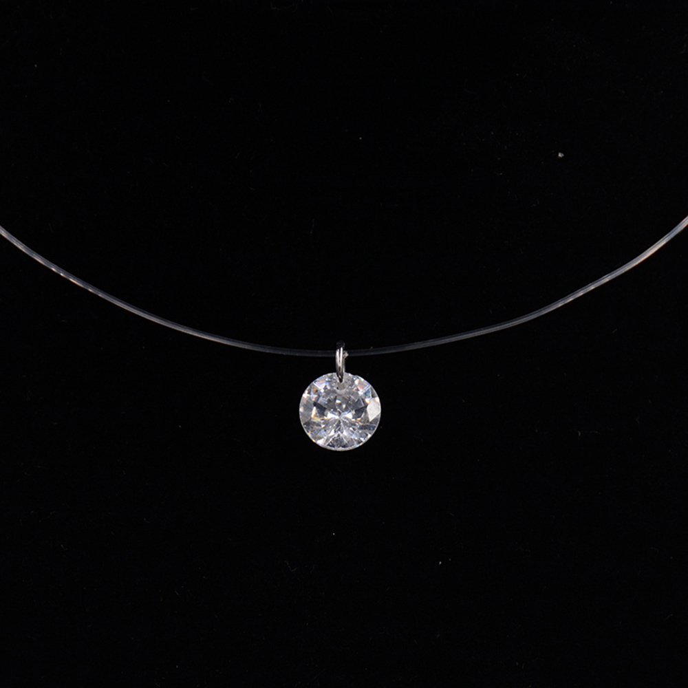 Fashion Silver Color Crystal Zircon Invisible Pendant Necklace For Women Transparent Fishing Line Chain Necklace Collier Femme