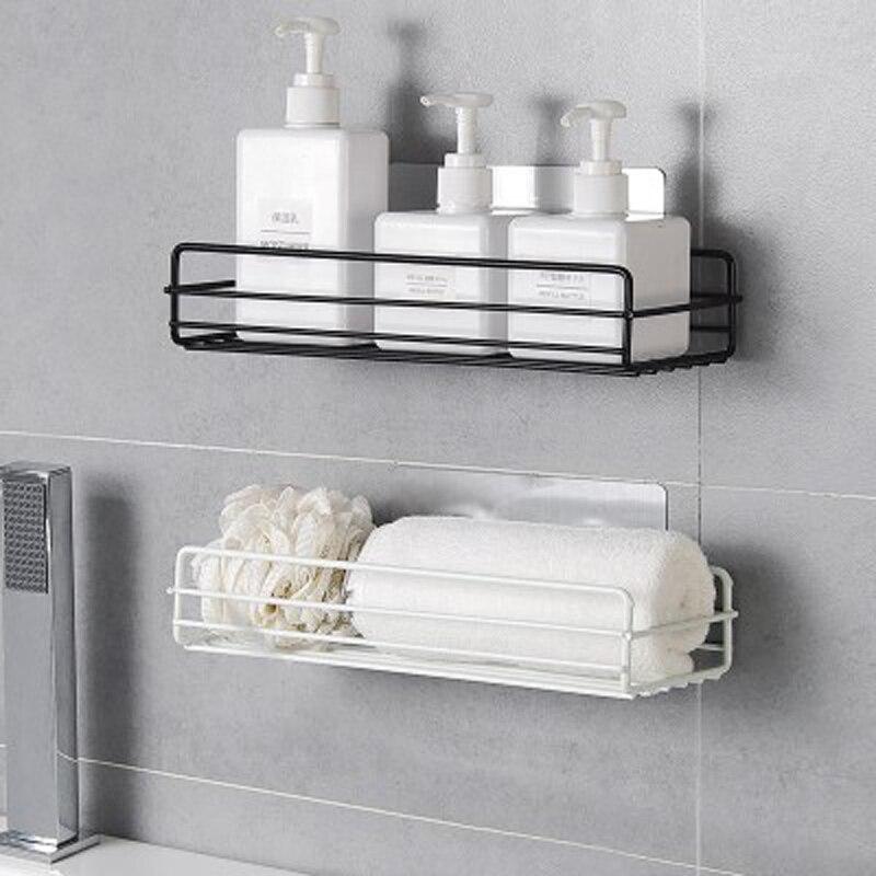 Bathroom Accessories Metal Storage Shelf For Shower Comestic Kitchen Seasoning Organizer Wall Hanger Holder With Glue