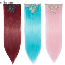 SNOILITE 66cm Women Synthetic Long Straight 8PCS Clip in hai