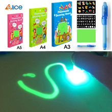 Educational Toy Drawing Board Tablet Graffiti Led Luminous Magic Raw With Light-fun children