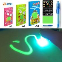 Educational Toy Drawing Board Tablet Graffiti Led Luminous Magic Raw With Light-fun children gift