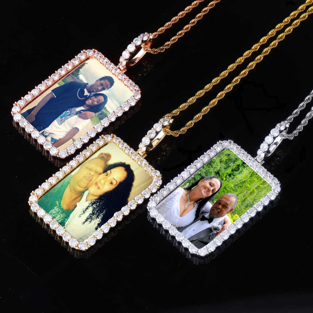 78*40cm custom photo Medal pendant necklace back solid Square with Cubic Zirconia mens Rope stainless steel chain hiphop jewelry