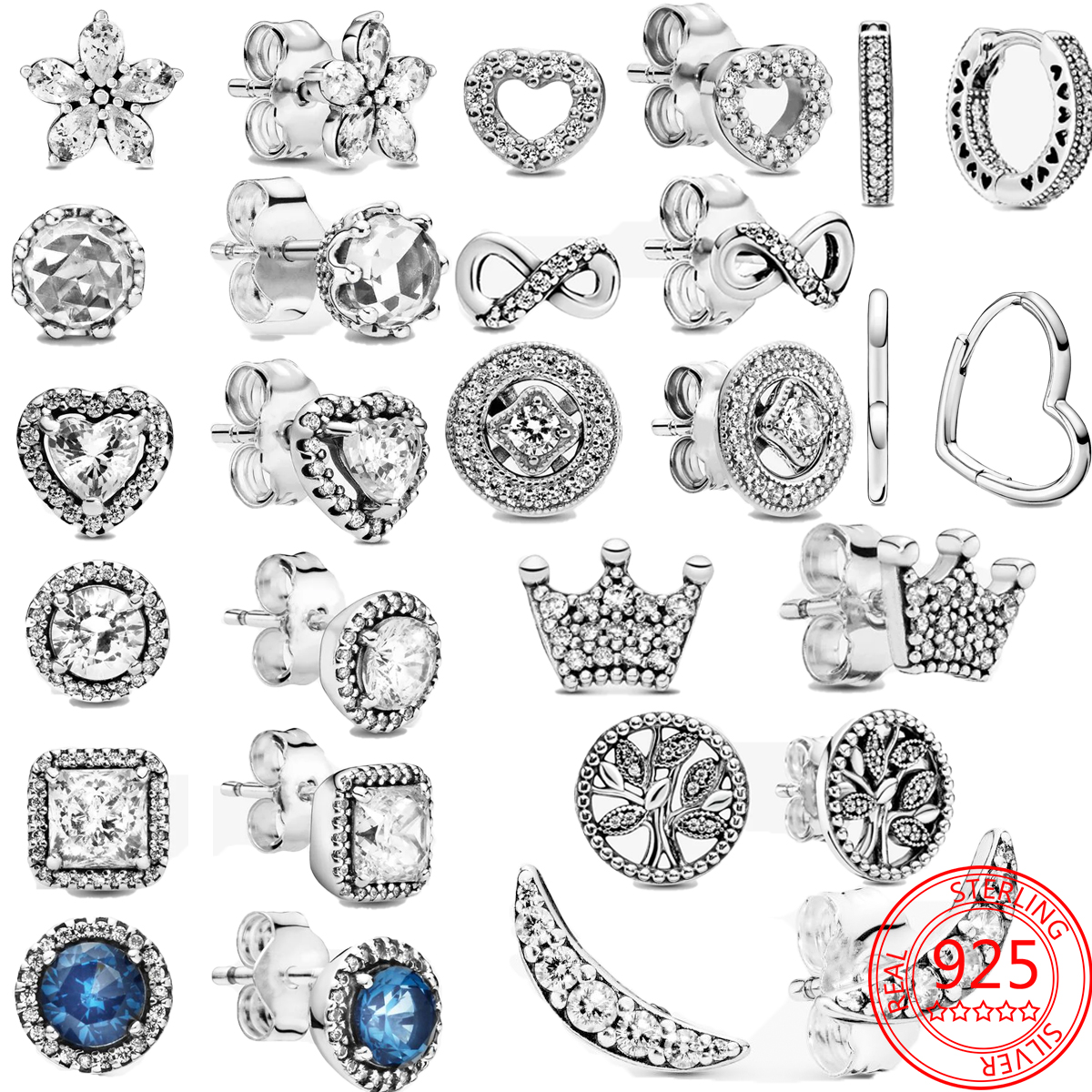 New 925 sterling silver Sparkling Family Tree Stud Earrings Crown Hoop Earrings Fashionable Birthday Gifts