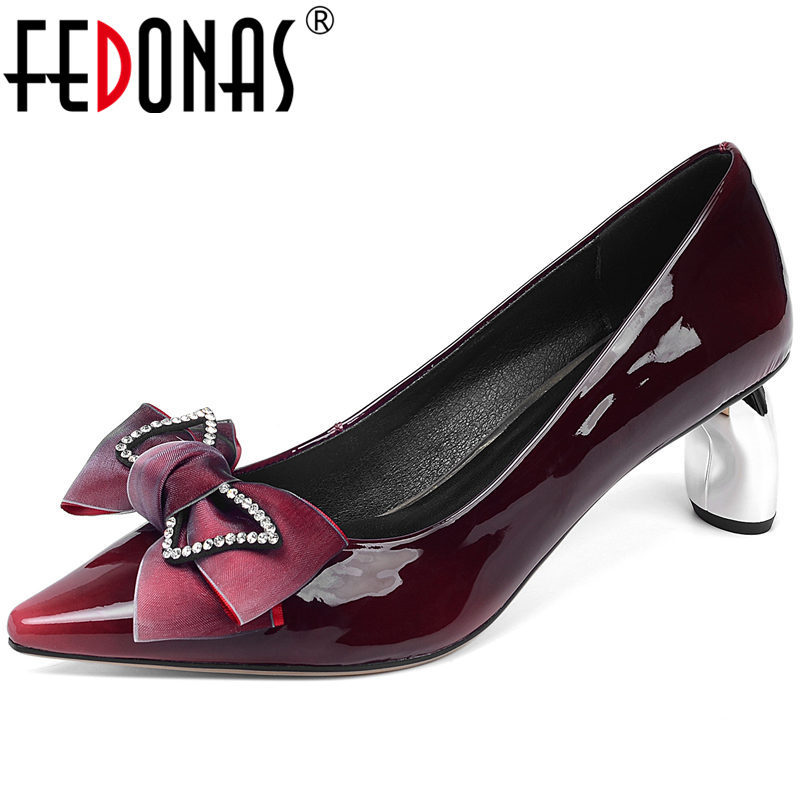 FEDONAS Butterfly Knot Spring Summer Cow Patent Leather Strange Heeled Women Pumps Point Toe New Arrival 2020 Shoes Woman