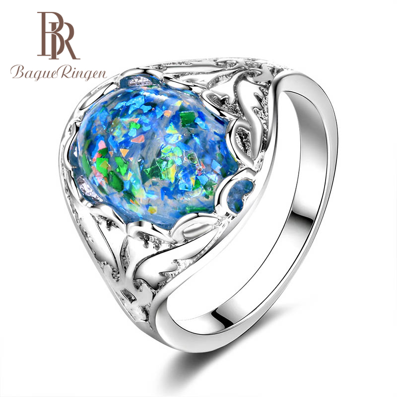 Bague Ringen Blue Opal Ring For Women Oval Silver 925 Jewelry 14*10mm Main Gemstones HOT SALE Style Female Party Accessory Gift