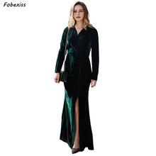 Elegant Velvet Dress Fall Winter 2019 Long Sleeve Sexy V Neck Green Bodycon Dresses Woman Party Night Maxi Women
