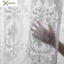 Белые тюлевые шторы с вышивкой для гостиной европейские прозрачные