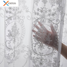 Embroidered White Tulle Curtains For Living Room European Voile Sheer Curtains For Window Bedroom Lace Curtains Wind Fresh Green