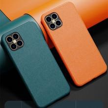 Capa de pele lisa de luxo para iphone 12 11 pro max 7 8 plus x xs max xr oficial borda macia superfície capa de pele lisa cove no iphone 7