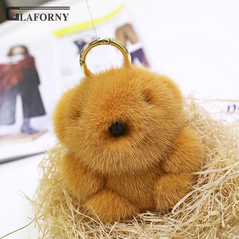 2019 Glaforny брелок из натуральной импортной норки волос маленький медведь кулон милый плюшевый медведь сумка орнамент Мех автомобиля брелок