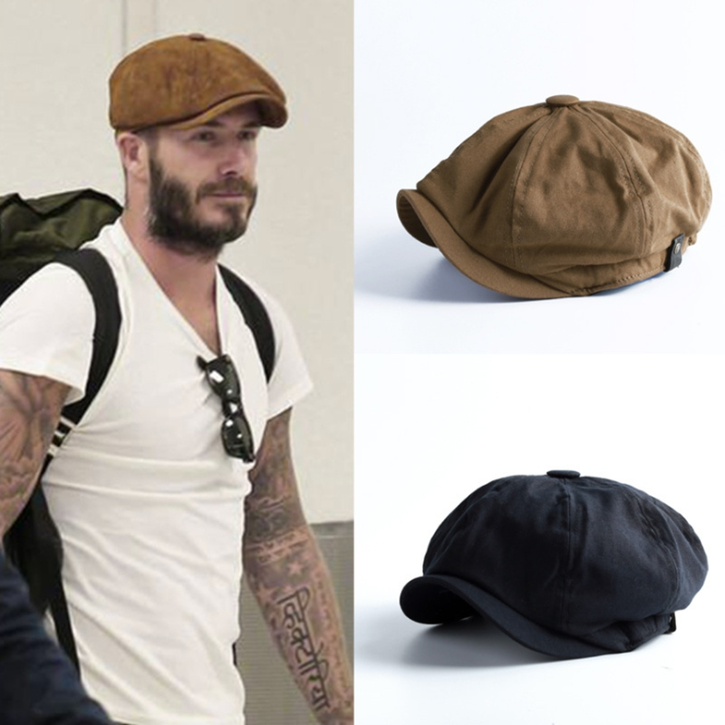 WZCX Fashion Solid Color Vintage Newsboy Hat Korean Version Spring Autumn Casual Tide Personality Beret Adult Cap