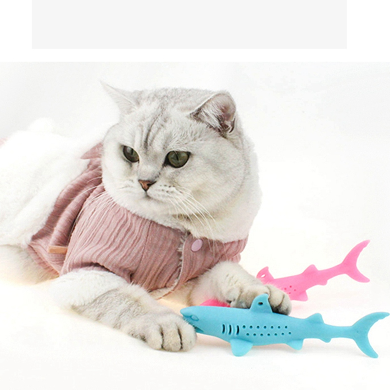 Fish Shape Silicone Pet Cat Toothbrush Pet Soft Mint Shark Catnip Cat Teeth Cleaning Toys For Cats Kitten Chew Toy Pet Supplies image