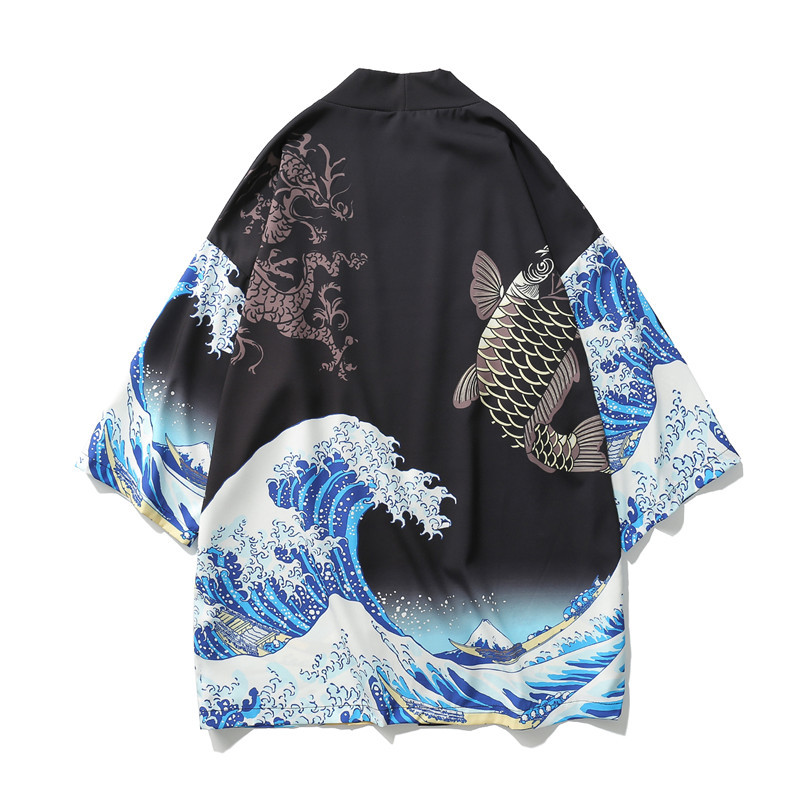 Japanese Kimono Carp Harakuju Vintage Cartoon Print Kimono Summer Shirt Yukata Men Outerwear Beach Travel Thin Blouses
