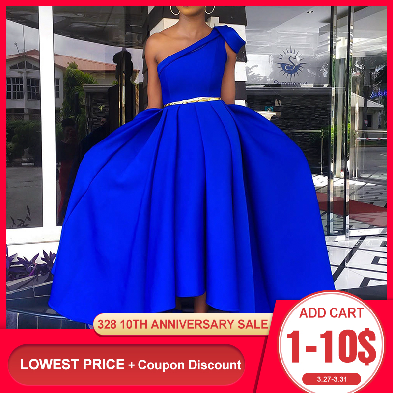 Elegant Blue One Shoulder Floor Length Party Dress Evening Plus Size Sexy Sleeveless Pleated A Line Women Long Maxi Dress 2019