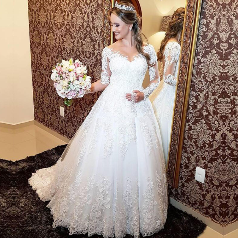 ZJ9160 2019 New  Crystal White Long Sleeve Lace Bottom Vintage Wedding Dresses For Brides Plus Size Maxi Size