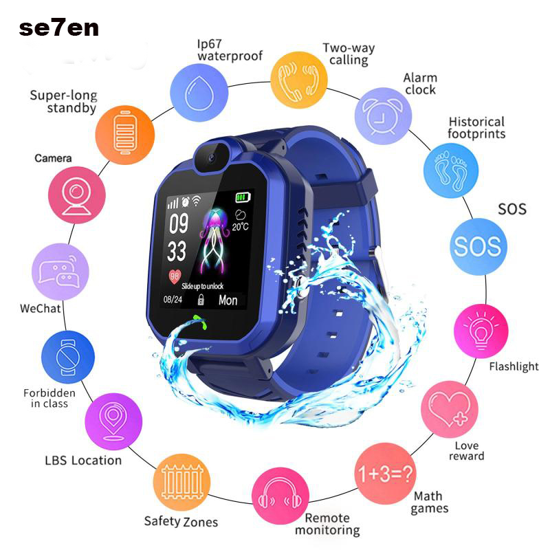 <font><b>R7</b></font> <font><b>Smart</b></font> <font><b>Watch</b></font> Waterproof Baby <font><b>Watch</b></font> Children SOS Alarm Locator LBS Tracker Anti-Lost Monitor Voice Call Camera smartwatch image
