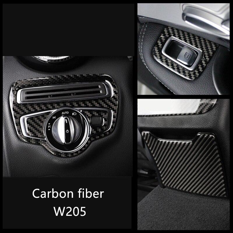Black Carbon Fiber Headlight Switch Button Trim For Mercedes C Class W205 GLC