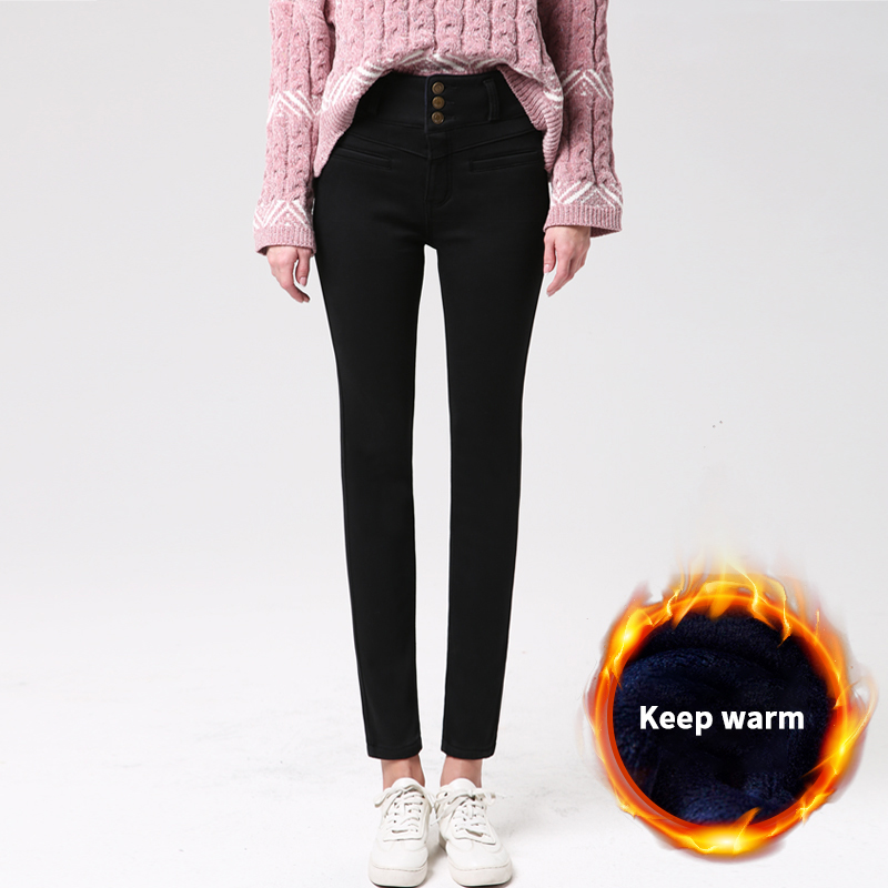 OKUOHAO Three Buckle Models 2019 Winter New Black Plus Velvet Jeans Women's High Waist Thick Cotton Pants Thin Pencil Pants