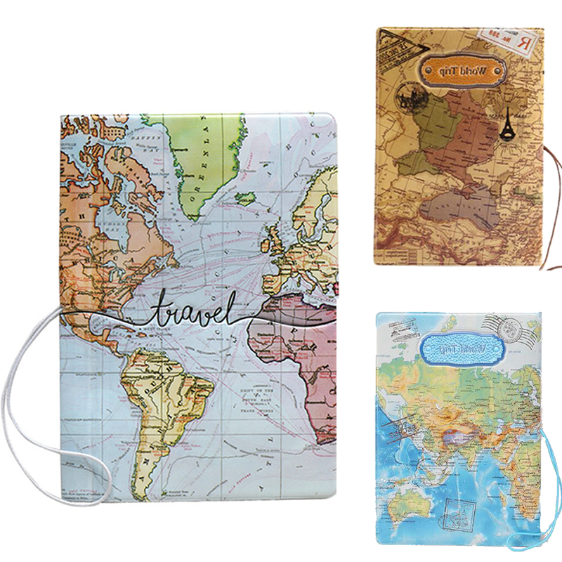 Fashion World Map 3D Passport Cove Travel Passport Holder Case Card ID Credit Storage Men Women PU Leather Organizer Wallet