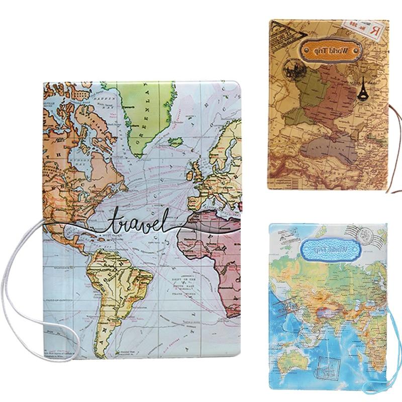 Fashion World Map 3D Passport Cove Travel Passport Holder Case Card ID Credit Storage Men Women PU Leather Organizer Wallet