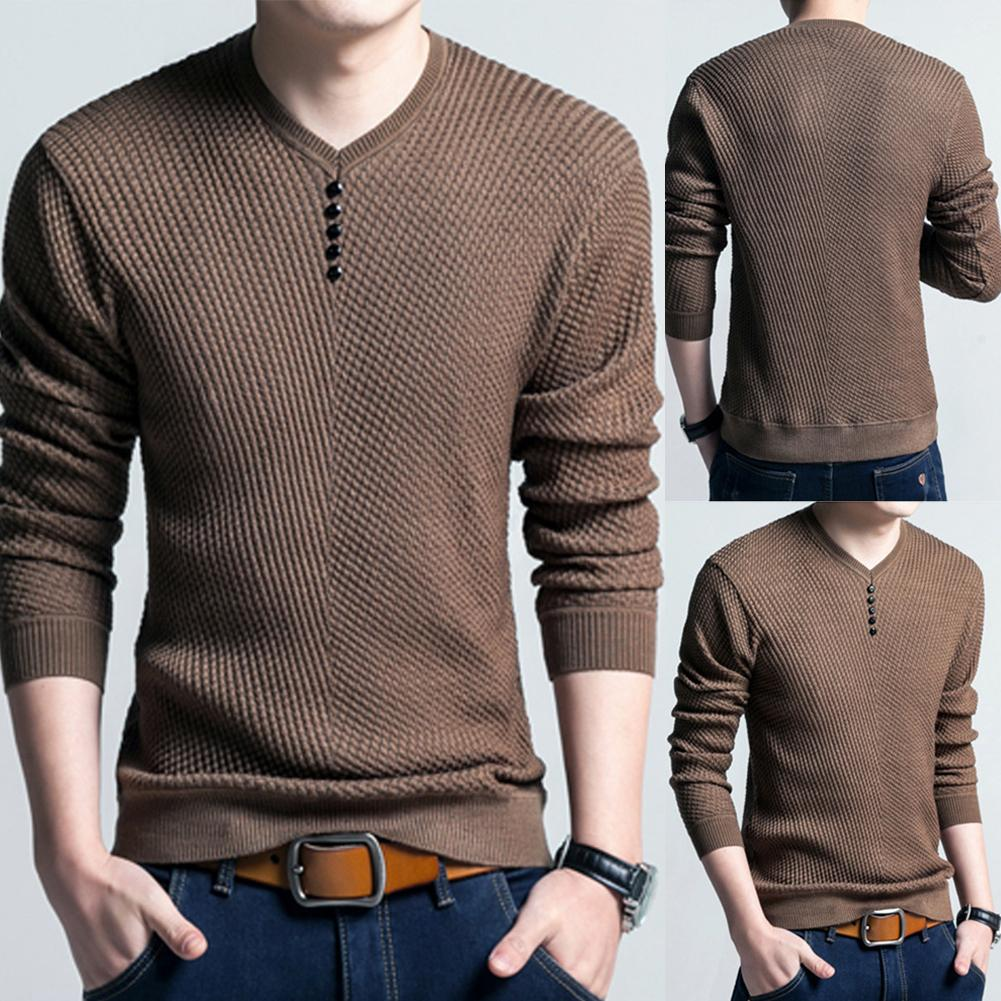 New Men Long Sleeve Solid Color Buttons Decor Knitwear Plus Size Bottoming Sweater