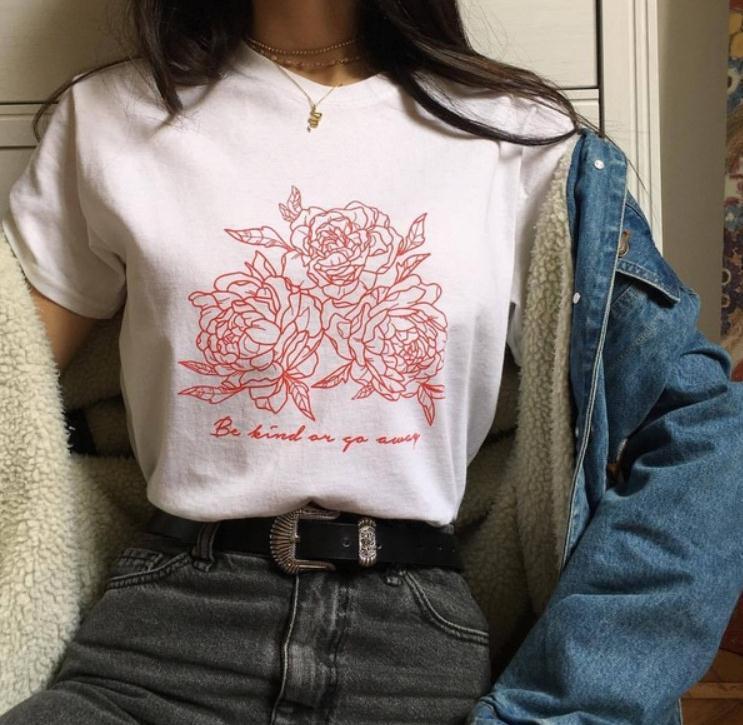 Rose Flower Print T Shirt Women Short Sleeve O Neck Loose Tshirt 2019 Summer Fashion Women Tee Shirt Tops