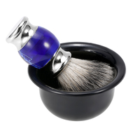 4 In 1 Men's Shaving Set Blaireau Hair Shaving Brush Straight Razor Soap Bowl Shaving Holder Stand Male Facial Cleaning Tool