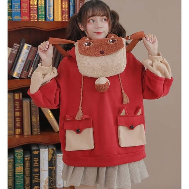 HOUZHOU Kawaii Cute Oversized Hoodie Harajuku Plus Size Pullovers Korean Fashion Long Sleeve Streetwear Women Aesthetic Coat 4