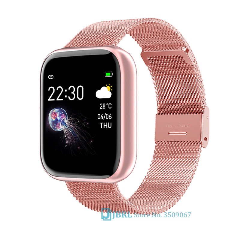 Stainless Steel Smart Watch Women Men Smartwatch For Android IOS Electronics Smart Clock Fitness Tracker Square Smart-watch Hour