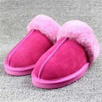 New Couple Winter Shoes Fur One Home Slippers Women Genuine Leather Warm Wool Slippers Women Shoes Cashmere Cotton Slippers