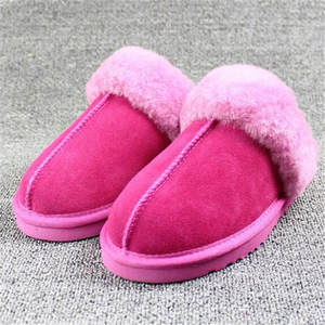 COOCOl Natural Fur Slippers Shoes Women Indoor Floor Slippers Home Shoes Warm Thick Wool Slippers,Yellow,4
