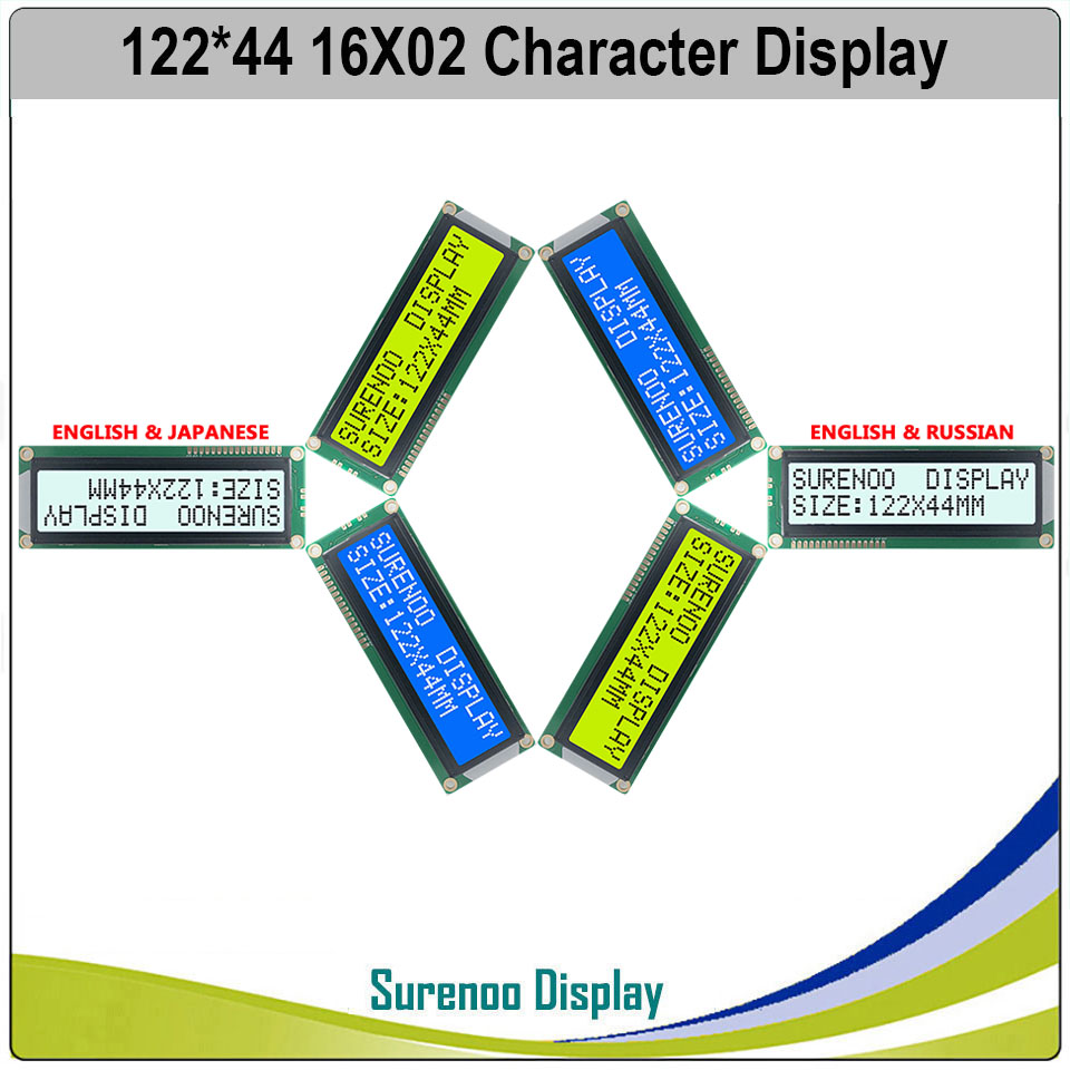 Larger 162 16X2 1602 Russian / Japanese / English Character LCD Module Display Screen LCM With LED Backlight