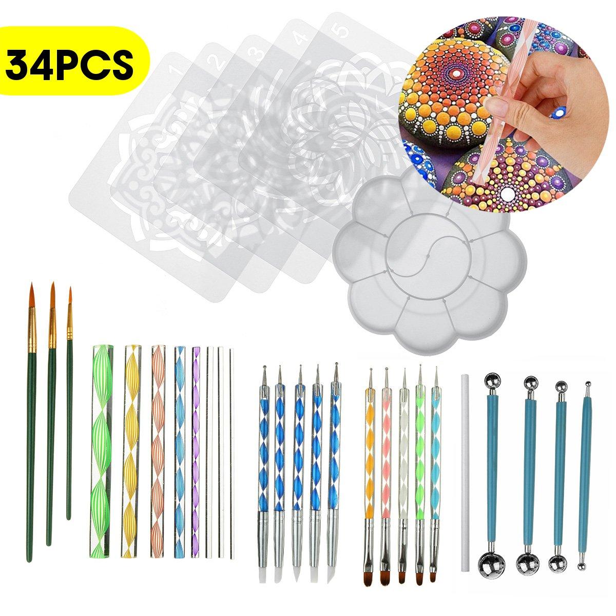 20PCS/ 25PCS/34PCS Dotting Rods Ball Stylus Pens Mandala Painting Dotting Tools Wood Rocks Art Craft Drawing DIY Nail Art Craft