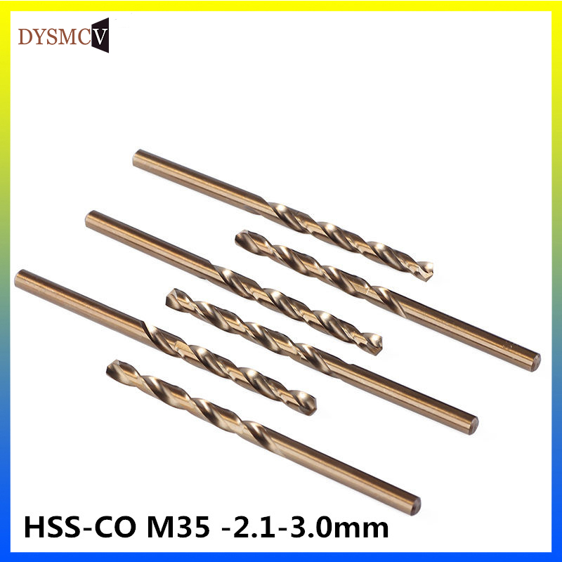 2 Pieces  HSS-CO M35 Steel 2.1, 2.2, 2.3, 2.4, 2.5, 2.6, 2.7, 2.8, 2.9 3mmstraight Handle Turn Drill Bits For Steel Stainless
