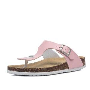 Image 4 - Zomer Vrouwen Kurk Slippers Pu Leer Vrouw Sandalen Fashion Slippers Voor Vrouwen Muilezel Klompen Slippers Vrouwelijke Schoeisel
