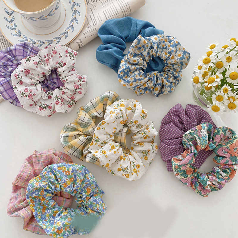 Women Floral Plaid Hair Scrunchies Vintage Wild Hair Ring Elastic Rubber Band Girls Fashion Ponytail Scrunchie Hair Accessories