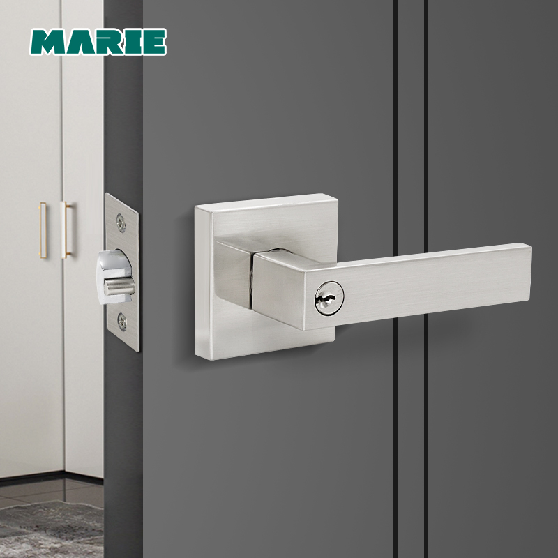LH3008 Stainless Steel Door Handle With Lock Cylinder Front Back Lever Latch Polished Home Security Interior Accessories