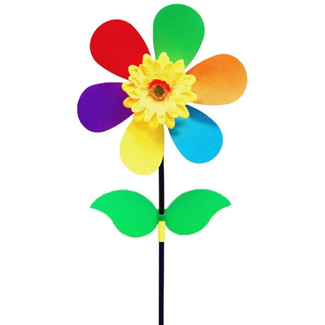 QINREN 10Pieces Windmill Kid Toys Sunflower Yard Garden Ornaments Colorful Outdoor Spinner,Random Delivery,Plastic