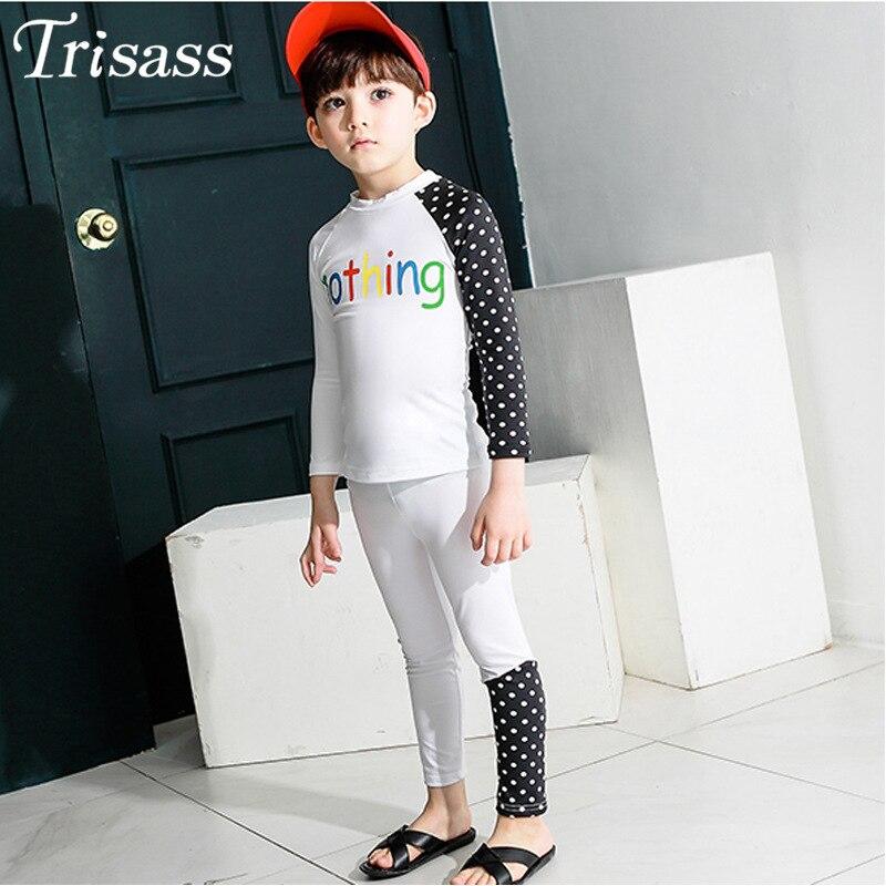Trisass Korean-style BOY'S Girls KID'S Swimwear Printed Letter Big Kid Long Sleeve Trousers Split Type Two-Piece Set