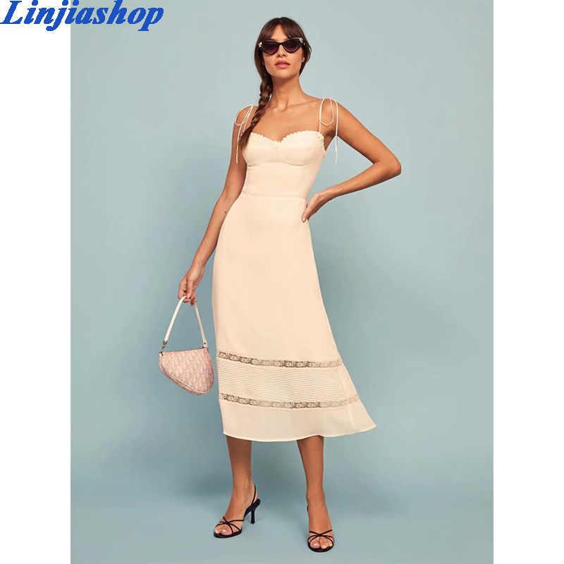 Vestido blanco de verano a la moda con cuello barco sin mangas forro negro elegante midi Vestido de playa Mujer vestidos dropshipping