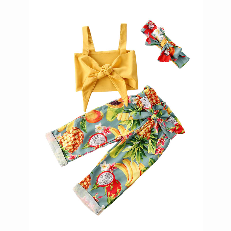 1-5Years Kids Baby Girl Clothes Summer Holiday Fruit Print Sets 3Pcs Child Girl Bow Vest Long Trousers Headband Outfits For Girl