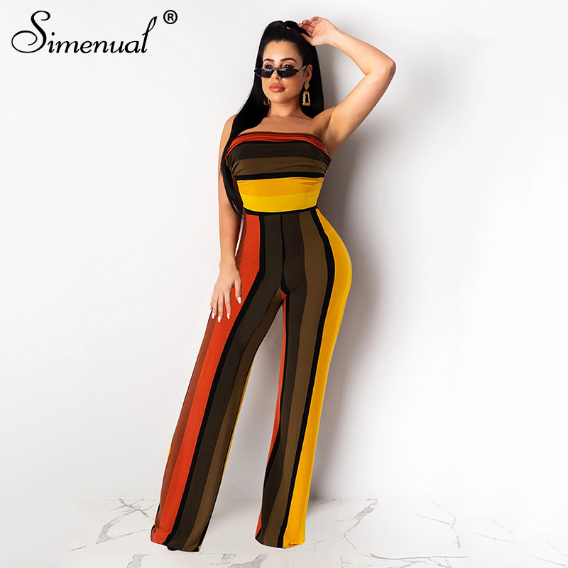 Simenual Striped Wrap Chest Sexy Women Jumpsuits Fashion 2019 Bodycon Wide Leg Pants Overalls Sleeveless Skinny Female Jumpsuit