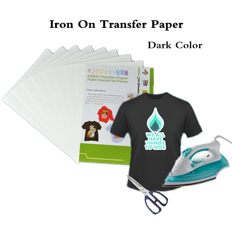 (A4*10sheets) Iron On Dark Inkjet Heat Transfer Paper for 100% Cotton Tshirts For Dark and Light Fabrics Papel Thermal Transferiron oniron on heat transferiron on transfer paper -