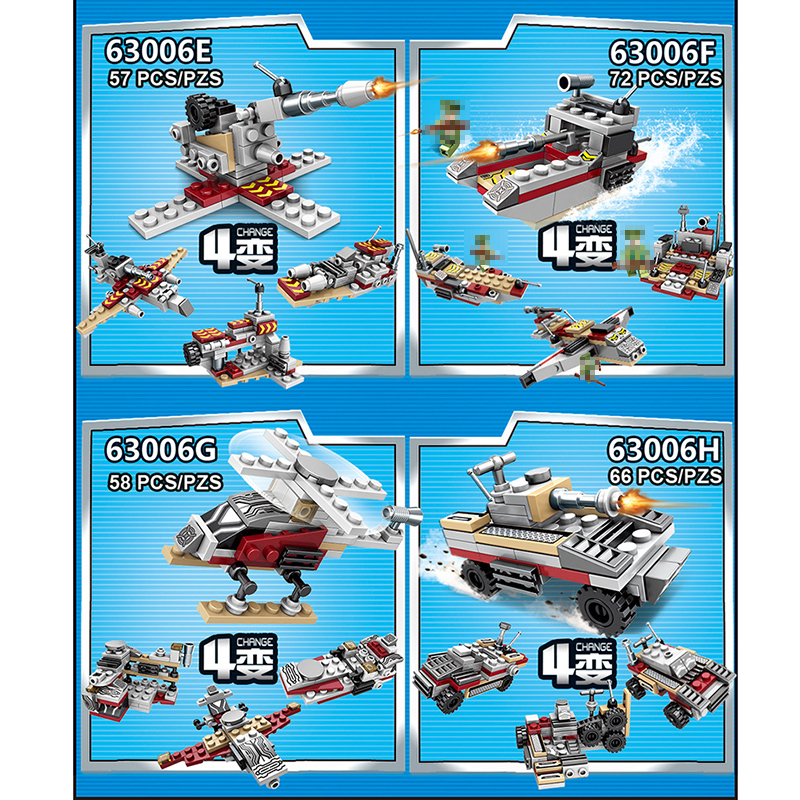 Toys For Children Compatible With LegoINGlys Battleship 502+PCS  8 IN 1 Warship Building Blocks Military Bricks With Mini Figure (8)