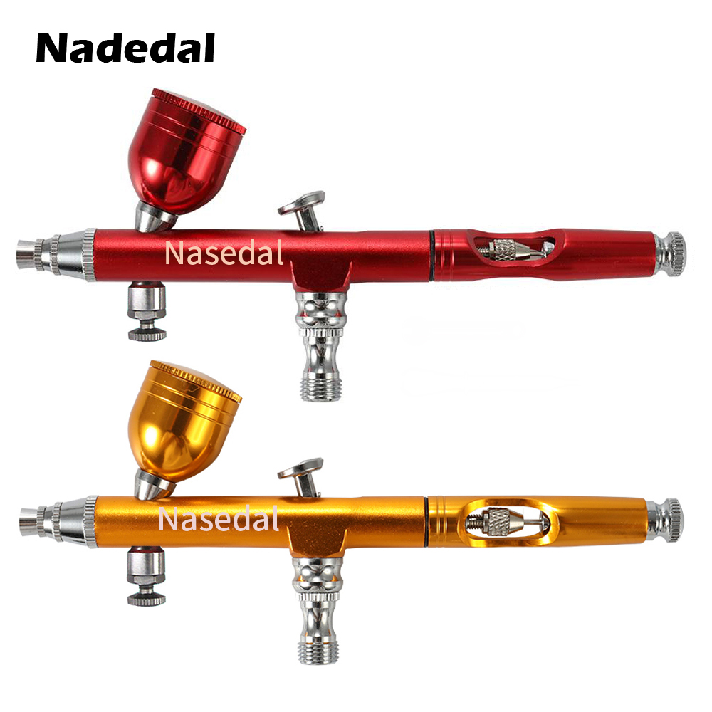 Red/Gold Airbrush Dual Action Gravity Feed 0.3mm Nozzle Spray Gun  Cake Decorating Brushes For Nail Manicure With Wrench Straw