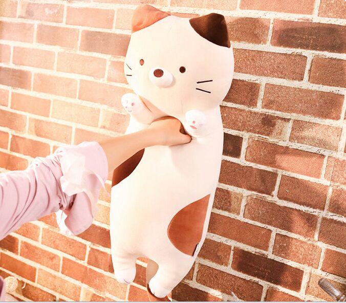Nouveau design jouet long oreiller dormir chat en peluche jouet doux poupée jeter oreiller cadeau de noël b1785