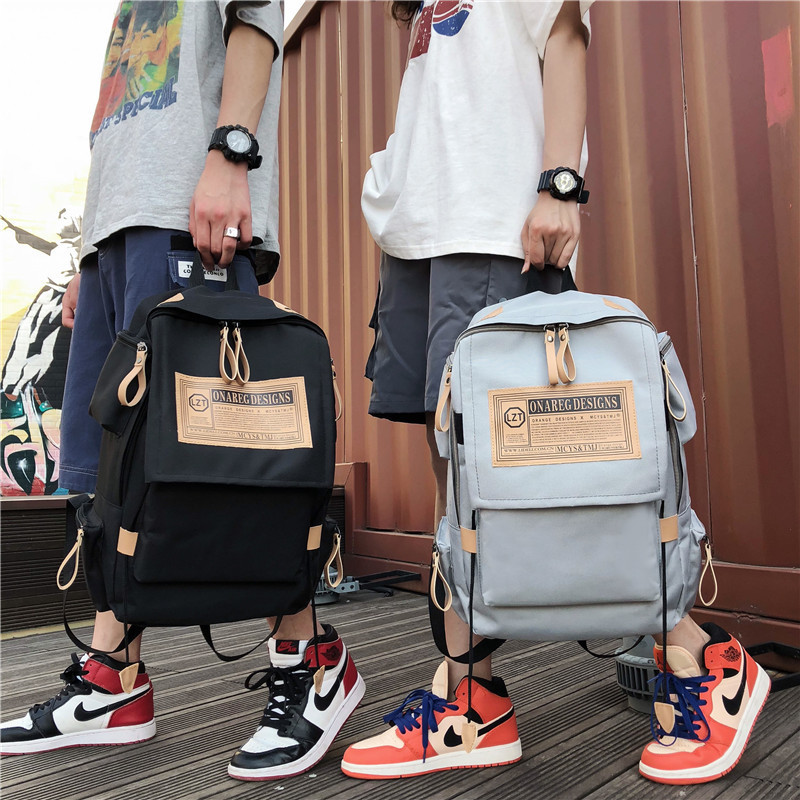 2019 Korean fashion casual canvas backpacks men and women large capacity notebook travel backpack youth student bag Mochila image