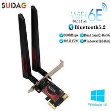 3000 Мбит/с Dual Band Intel AX210 Wi-Fi 6E Беспроводной PCI Express адаптер Bluetooth 5,2 Настольный сетевой карты 2,4 ГГц/5 ГГц 802.11ax/переменного тока