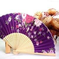 Ventilador portátil japonês chinês novo estilo feminino à mão dobrável ventilador de cetim bonito com quadro de bambu verão legal presente