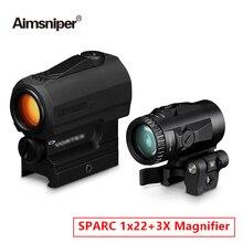 Caccia SPARC 1X22 Vort Red Dot Sight 3X lente d'ingrandimento Combo mirino ottico olografico con supporto per binario di scorrimento da 20mm per fucile ad aria compressa